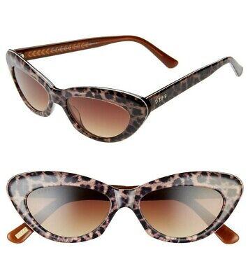 DIFF Cleo 48mm Cat Eye Leopard Tortoise Sunglasses Brown Lenses New w/Pouch (Brown Cat Eye Sunglasses)