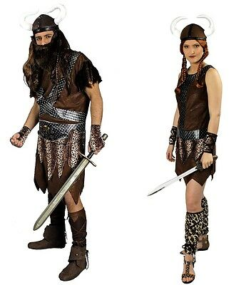 Wikinger Erik u. Freya Damen oder Herren Kostüm  mit Helm Karneval Fasching NEU