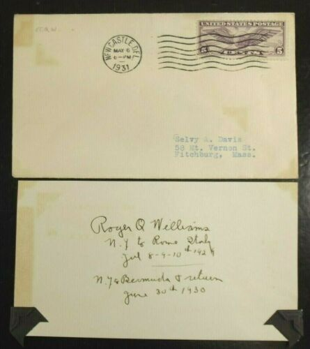 Roger Q. Williams Aviation Pioneer Record Holder Signed Card With Flight Info
