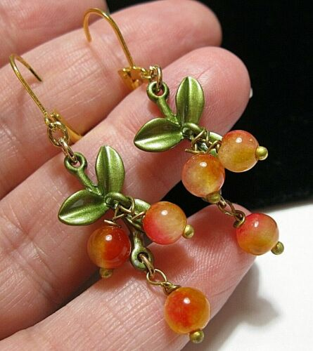 Vintage Style Art Deco Stone BEAD Orange & Pink Berries Blossom Enamel EARRINGS