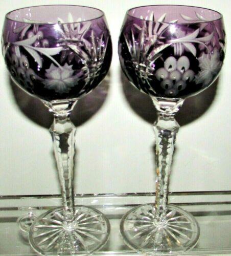 2-AJKA CUT TO CLEAR BOHEMIAN CRYSTAL WINE Amethyst Purple Stem Sherry Glass