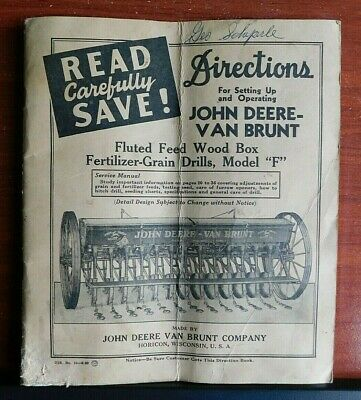 John Deere-van Brunt - Fluted Feed Wood Box Fertilizer-grain Drills- 1952 Manual
