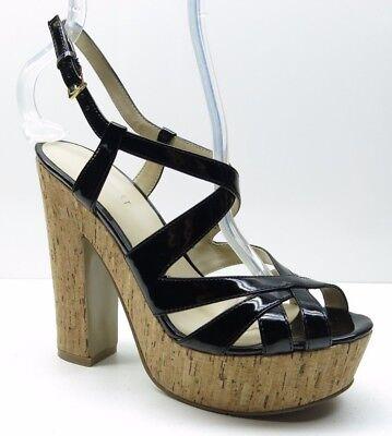Patent Chunky Heel Sandal (Nine West Black Patent Platform Slingback Chunky Heel Sandal Pumps 6M 6 MSRP $89)