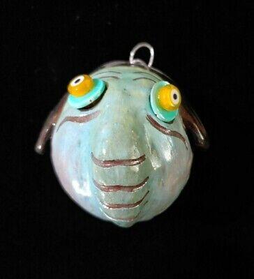 "Handmade Ceramic Creature Head Wall Hanging 3"" Diameter"