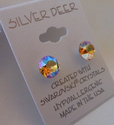 HYPOALLERGENIC Stud Earrings Swarovski Elements Crystal Lt Topaz Aurora Borealis