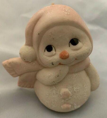 "White w Pink Scarf 3.5"" Snowman Ornament Figurine"