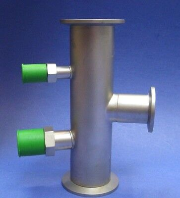 Stainless Steel Vacuum Tube Tee Nw40 Flanges And Nw25 Reducer W Ports New