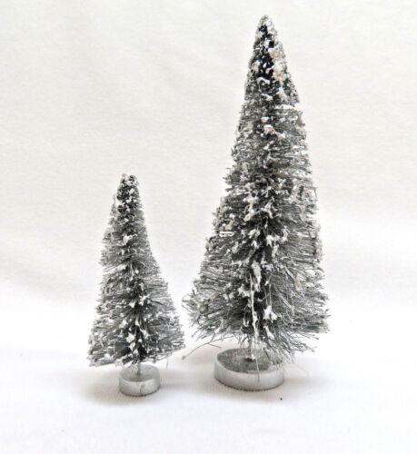 Set of 2 ~ Vintage Miniature Silver Bottle Brush Christmas Trees