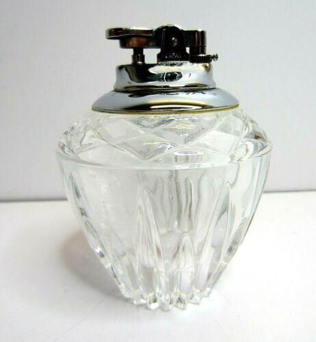 Vintage Clear Crystal Cut Glass Table Lighter Japan