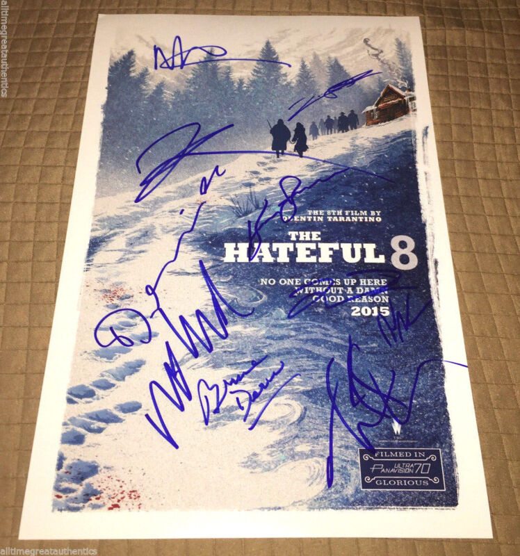 THE HATEFUL EIGHT CAST SIGNED 12X18 MOVIE POSTER COA QUENTIN TARANTINO X10 PROOF