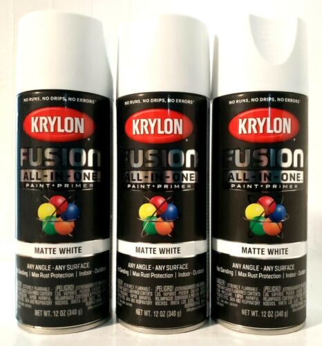 Krylon Fusion All-IN-One 2764 Matte White 12Oz Spray Paint Cans Set of 3