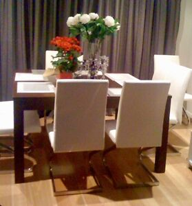 Solid dark wood dining table + 8 dining chairs Nedlands Nedlands Area Preview