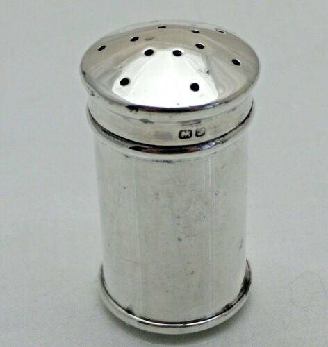 Antique Solid Silver Round Cylindircal Formed Pepper Pot Pepperette (1891/A/VVY)