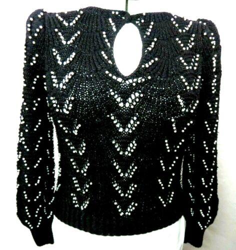 Nannel Vintage Sweater Black Pearl Embellishment Fashion Cardigan Womens Size S