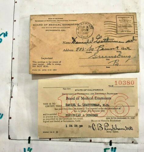 1936 Physician & Surgeon License Practice CA Board Medical Examiners w Envelope