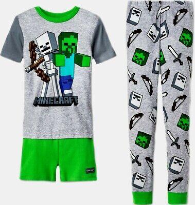 Minecraft short Sleeve Size 10 3pc Sleepwear Pajamas set Child New boy](Minecraft Pajamas Kids)