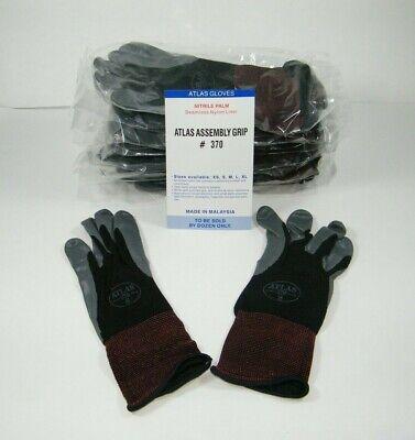 Atlas 370 Showa Work Gloves Nitrile Rubber Palms -12 Pair Small Black