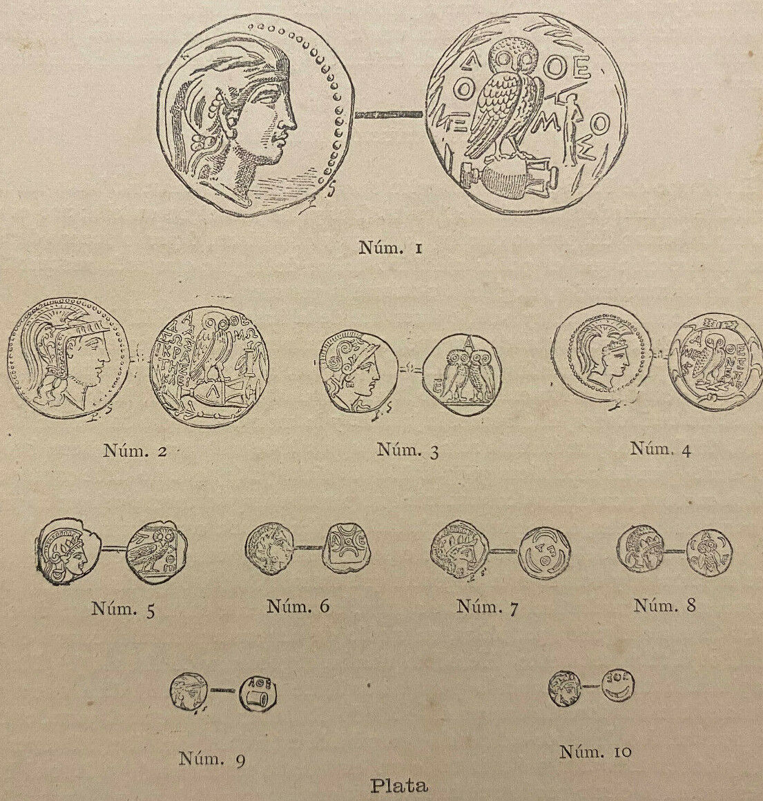 Ancient Roman Greek Coins, Small Antique 1870s Engraved Prints, Page 6 X 9  - $4.99