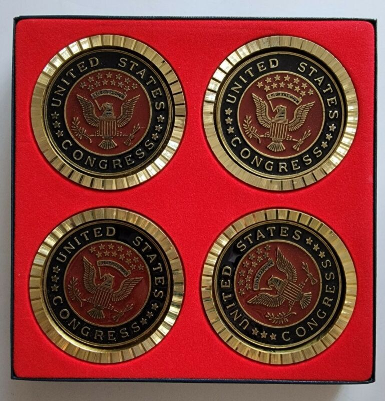 United States Congress House Seal Heavy Brass Coasters