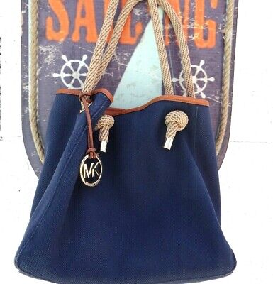 Michael Kors Marina Rope Tote Large Canvas Shoulder Bag Handbag Navy Blue & Gold
