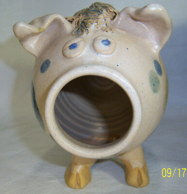 Vintage Studio Art Pottery Polka Dot Pig Still Coin Bank Spaghetti Detail Signed