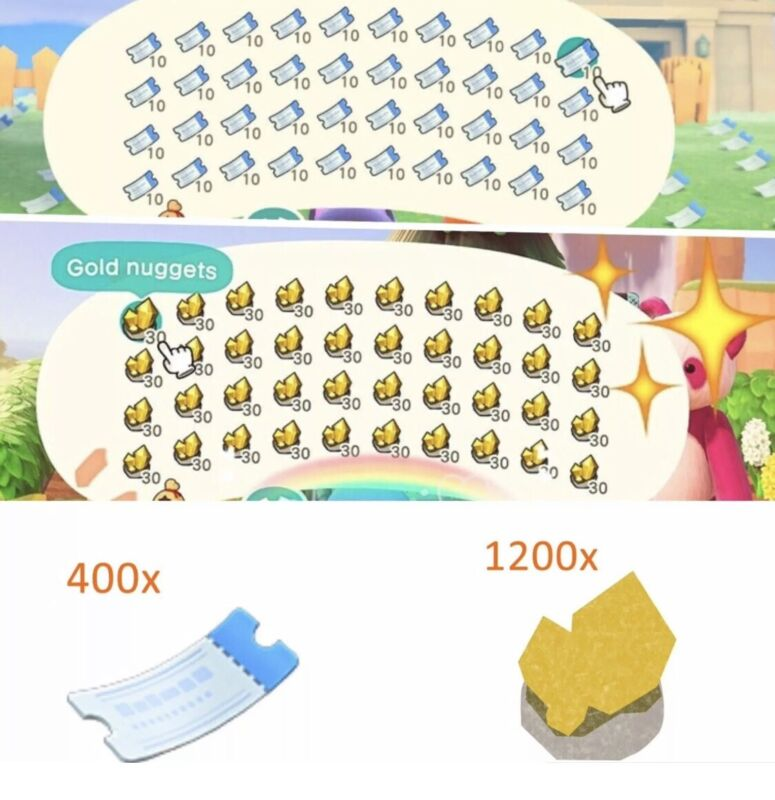 ✅  ONLINE NOW 400 Nook Miles Tickets NMT AND 12 Million Bells In Gold Nuggets