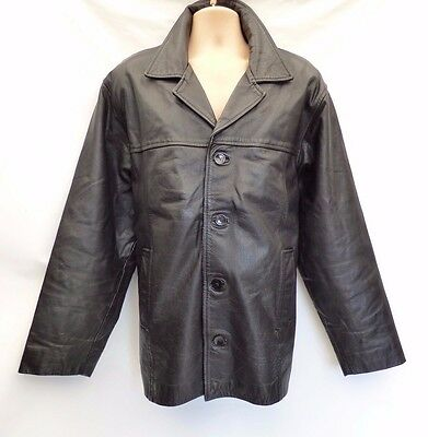 Men's Vintage AKASO Hip Length Black Thick 100% Leather Jacket Coat Size XL
