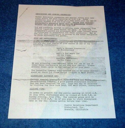 YALE LOCK SHOP DISNEYLAND JULY 1955 OPENING SOUVENIR KEY MEDIA MEMO LETTER