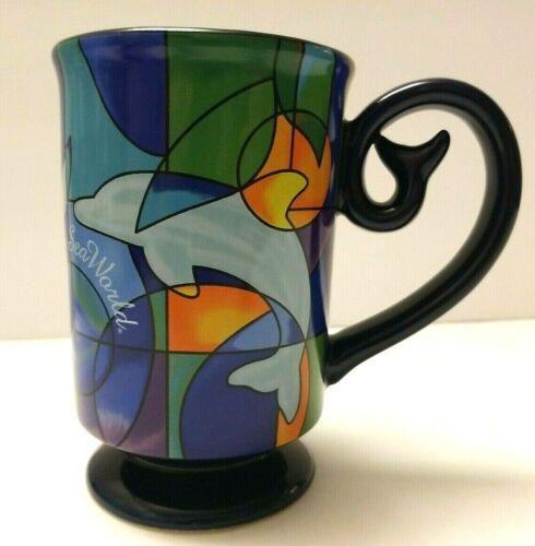 Sea World Shamu MUG Stained Glass Style Pedestal blue Dolphin Turtle Tail Handle