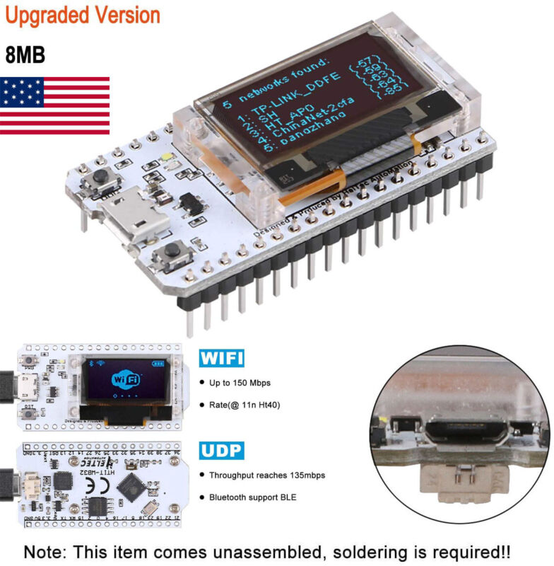 ESP32 Development Board 8MB Flash WiFi Bluetooth With OLED Display for Arduino