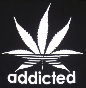 ADDICTED-T-shirt-Adult-Humor-Marijuana-420-Cannabis-Plant-Tee-Mens-Black-Shirt