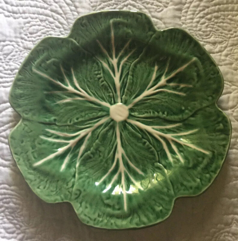 Vintage Bordallo  Pinhiero Green Cabbage  Leaf Platter~ Portugal