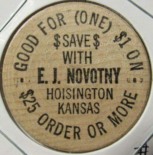 Vintage E.J. Novotny Hoisington, KS Wooden Nickel - Token Kansas #1