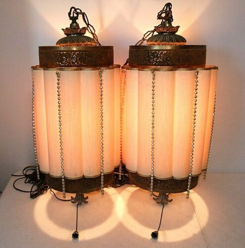 """Pair Large 29"""" Mid-Century Modern Vintage Hanging Swag Lights Lamps w/Chains"""
