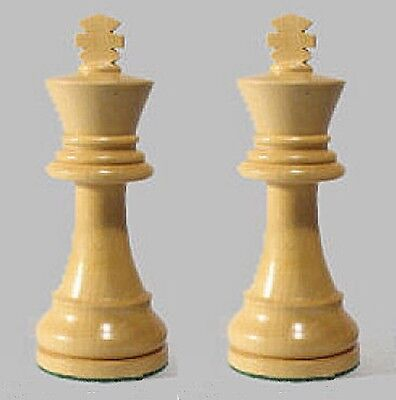 "Drueke Boxwood Wood Chess Pieces Two Extra Large Kings Only 4 1/4"" Dbl Weighted"