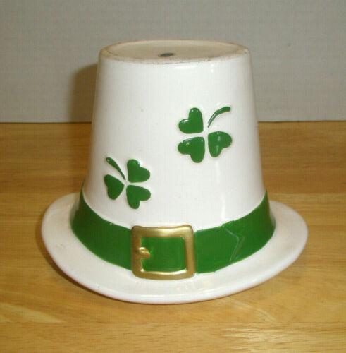 Vintage Figural St Patricks Day Hat Planter Shamrocks Hat Band Ceramic