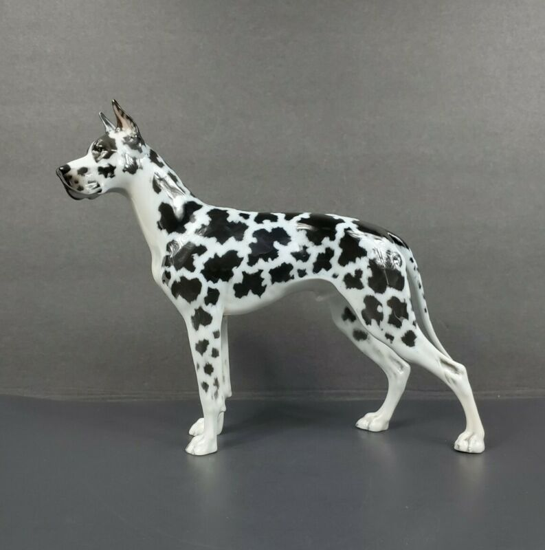 Elegant Rosenthal Black & White Harlequin GREAT DANE Dog Porcelain Figurine EUC