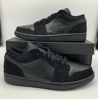 Nike Air Jordan 1 Low Retro Triple Black 553558-025 Men's Size AF1 Force