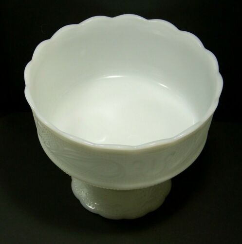 EO Brody M6000 White Milk Glass Compote Candy Dish Decorative Bowl