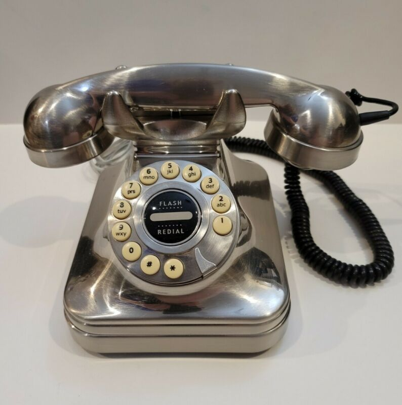 Pottery Barn Grand Phone Telephone Brushed Nickel Desk Vintage Retro Style