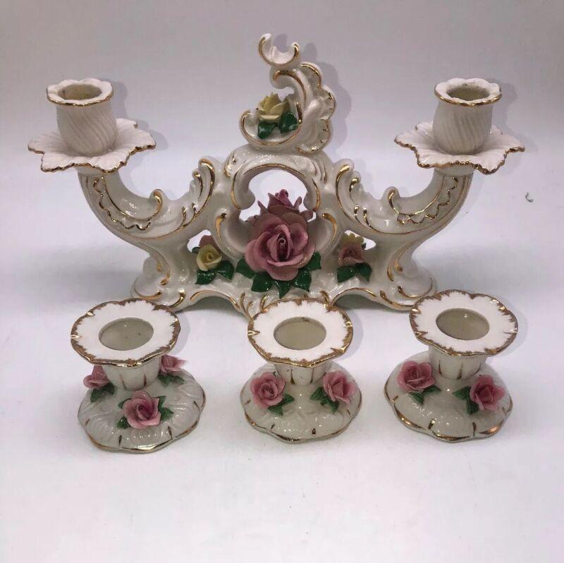 vintage Handarbeit Porcelain Floral 2 Candle Holder