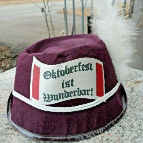 Vintage Hat Burgundy Felt Alpine Adult German Oktoberfest Costume Bavarian
