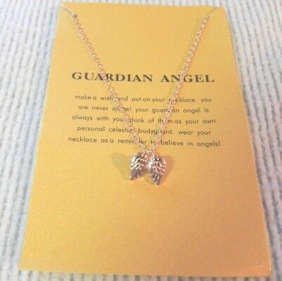 Guardian Angel Wings Necklace on Gift Card slide on gold plated Cable Chain NICE