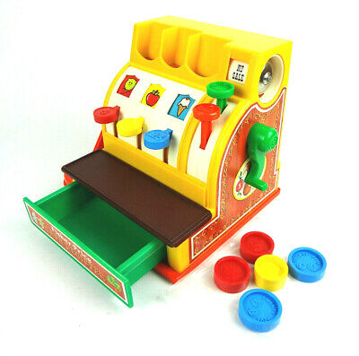 Fisher Price 1974 Vintage Toy Cash Register with 5 Coins Working Bell and Drawer