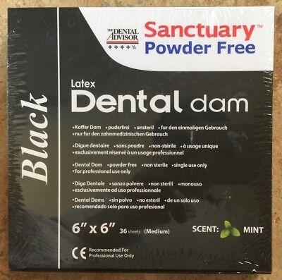 Black Sanctuary Latex Dental Dam Rubber 6x6 Medium Mint 36pk- Wholesale Price