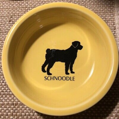 New W/out Tags Fiesta •SCHNOODLE• Cereal Happy Hybrid Dog Breed Yellow Bowl