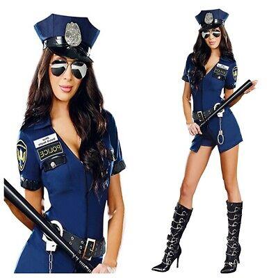 Damen Kostüm Polizistin Polizei Kleid Mütze Handschellen Blau - Polizei Kostüme Damen