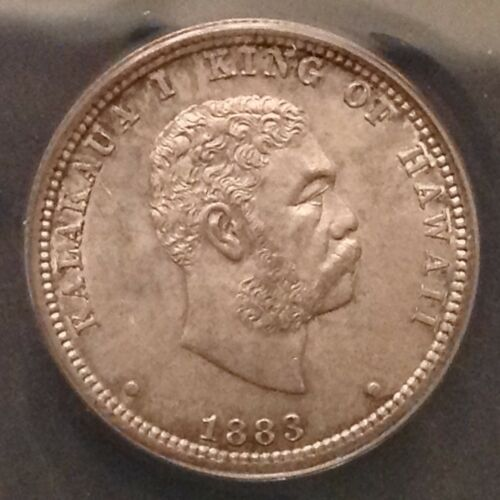 - 1883 Kingdom of Hawaii Quarter Dollar  Kalakaua I Gem Unc ANACS MS 63