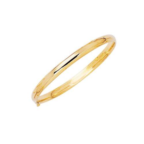 "Baby Kids Plain Shiny Polished Bangle Bracelet Real Solid 14K Yellow Gold 5.5"""