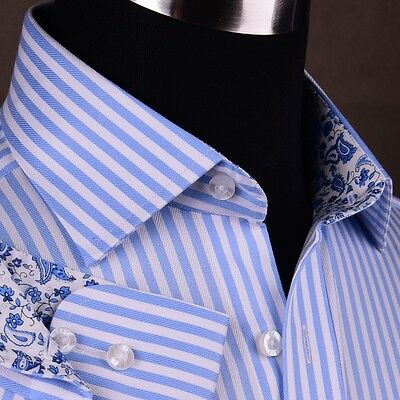 (Mens Blue Formal & Business Dress Shirt Herringbone Twill Striped Floral Paisley)